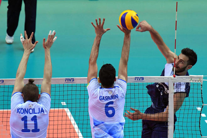 Rafail Koumentakis of Greece spikes