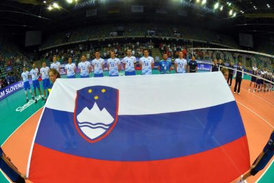 Slovenia during the national anthem