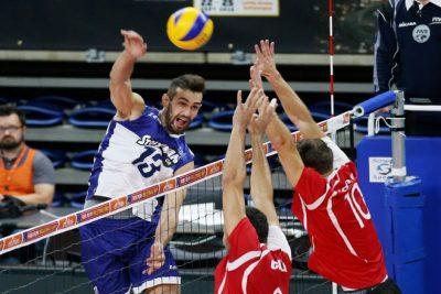 Antwerpen / Antwerp :  CEV European Championship  2nd round : Greece ( white)  -  Moldova ( red) :   foto VDB / BART VANDENBROUCKE
