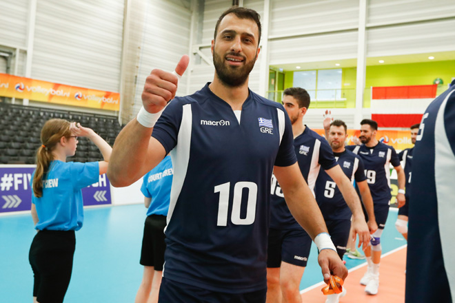 20170524 NED: 2018 FIVB Volleyball World Championship qualification, Koog aan de Zaan Andreas Andreadis (10) of Greece  ©2017-FotoHoogendoorn.nl / Pim Waslander