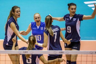 22-08-2017 NED: World Qualifications Netherlands - Greece, Rotterdam Anthi Vasilantonaki #11 of Greece, Areta Konomi #10 of Greece, .Evangelia Merteki #9 of Greece