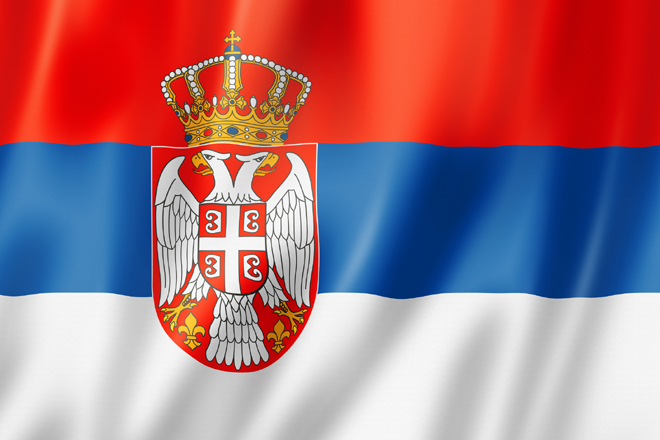 Serbia flag, three dimensional render, satin texture