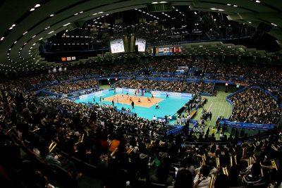 Hiroshima Green Arena in Hiroshima: panoramic view during the match Japan against Argentina