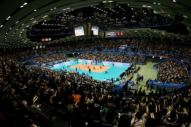 Hiroshima Green Arena in Hiroshima: panoramic view during the match Japan against Argentina
